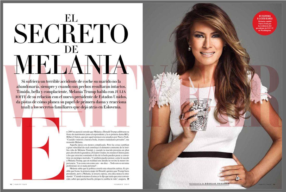 Parte de la nota sobre Melania Trump en Vanity Fair México de febrero