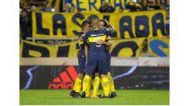 El festejo de los jugadores de Boca