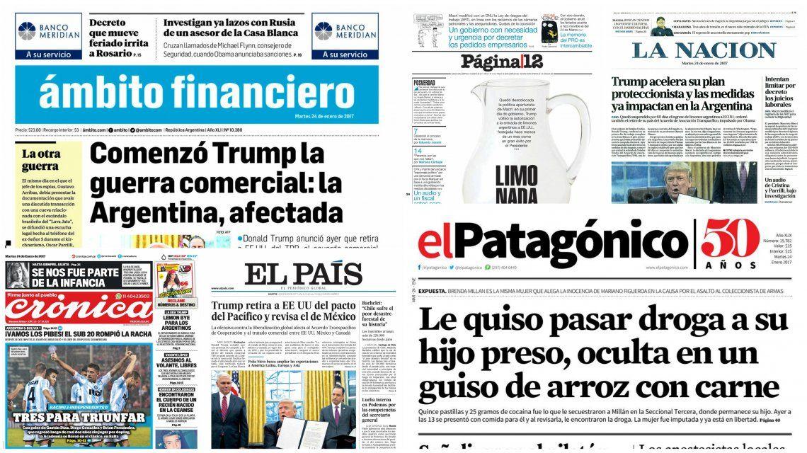 Tapas de diarios del martes 24 de enero de 2017