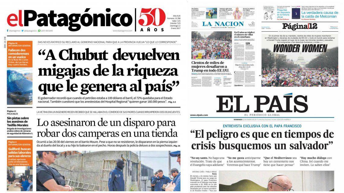 Tapas de diarios del 22 de enero de 2017