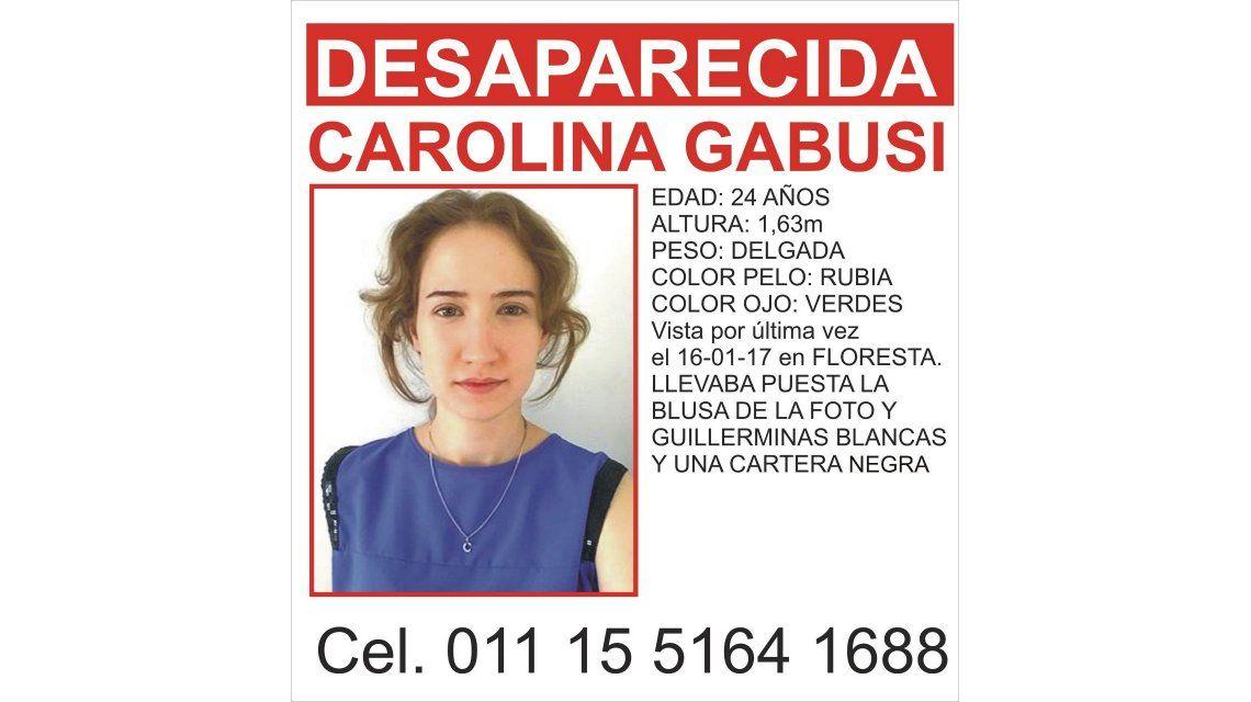 Hallan sana y salva a Carolina Gabusi