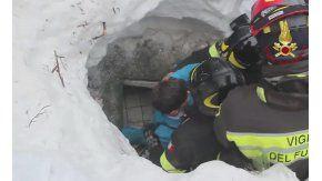 El chico fue rescatado del hotel Rigopiano