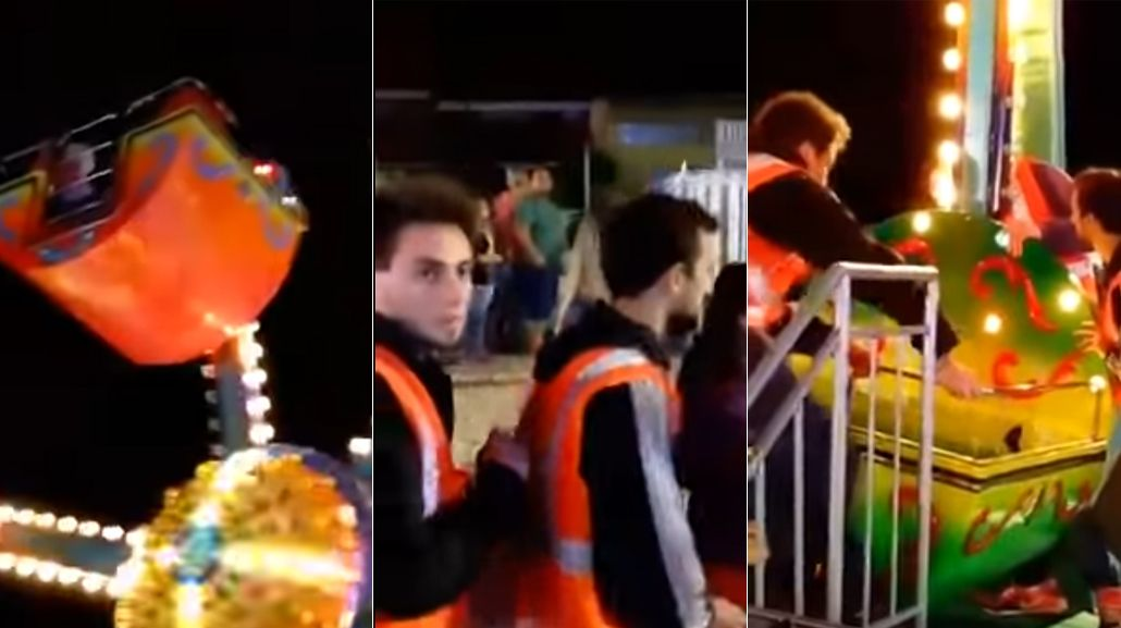 Niños se quedaron trabados en un juego de un parque de diversiones