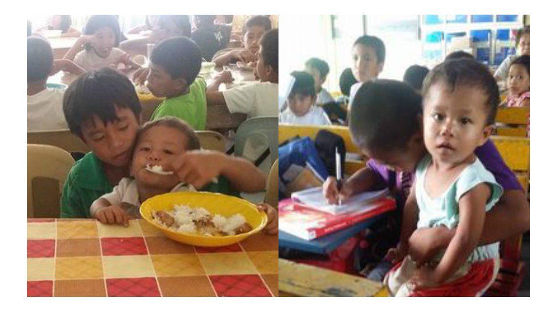 Estudia mientras cuida de su hermano de dos años