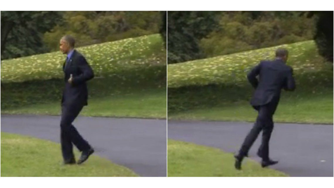 Barack Obama vuelve a la Casa Blanca corriendo