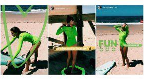 Calu Rivero, diosa con un traje original para surfear en Punta del Este