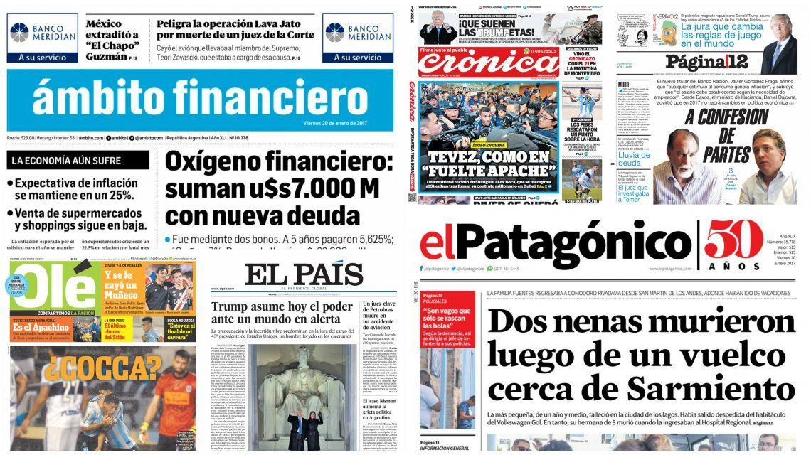 Tapas de diarios del viernes 20 de enero de 2017