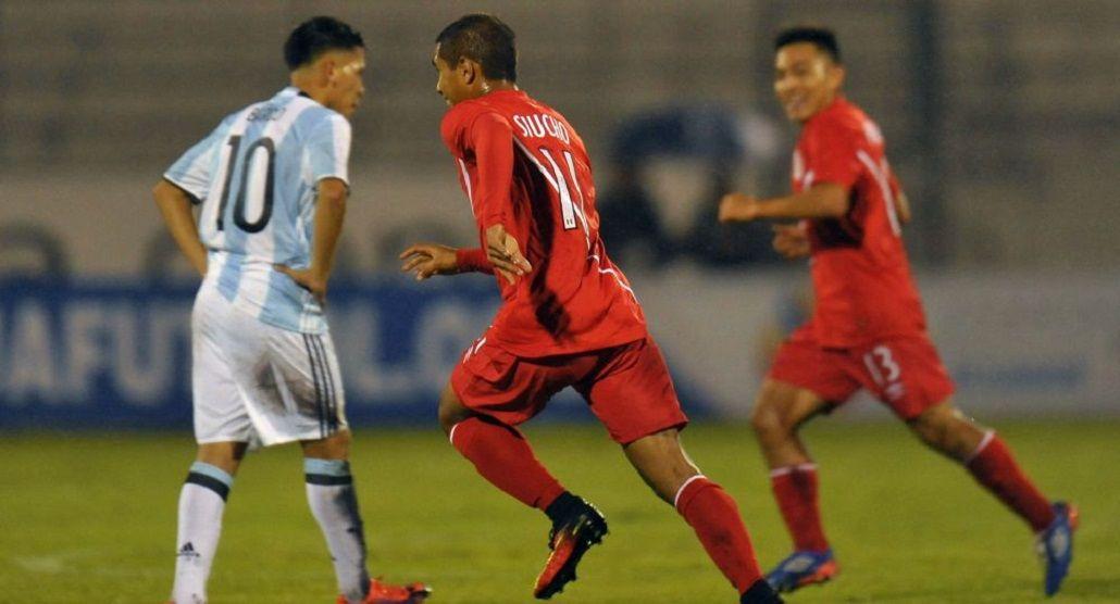 El festejo del gol de Perú ante Argentina en el Sudamericano