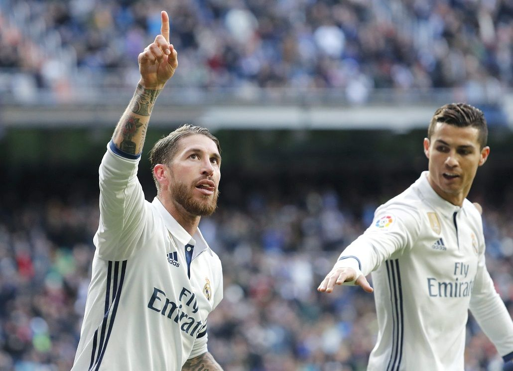 Ramos marcó dos para el Real Madrid ante el Málaga