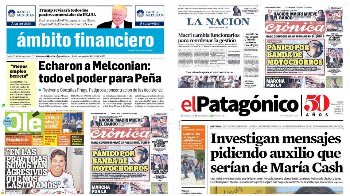 Tapas de diarios del 19 de enero de 2017
