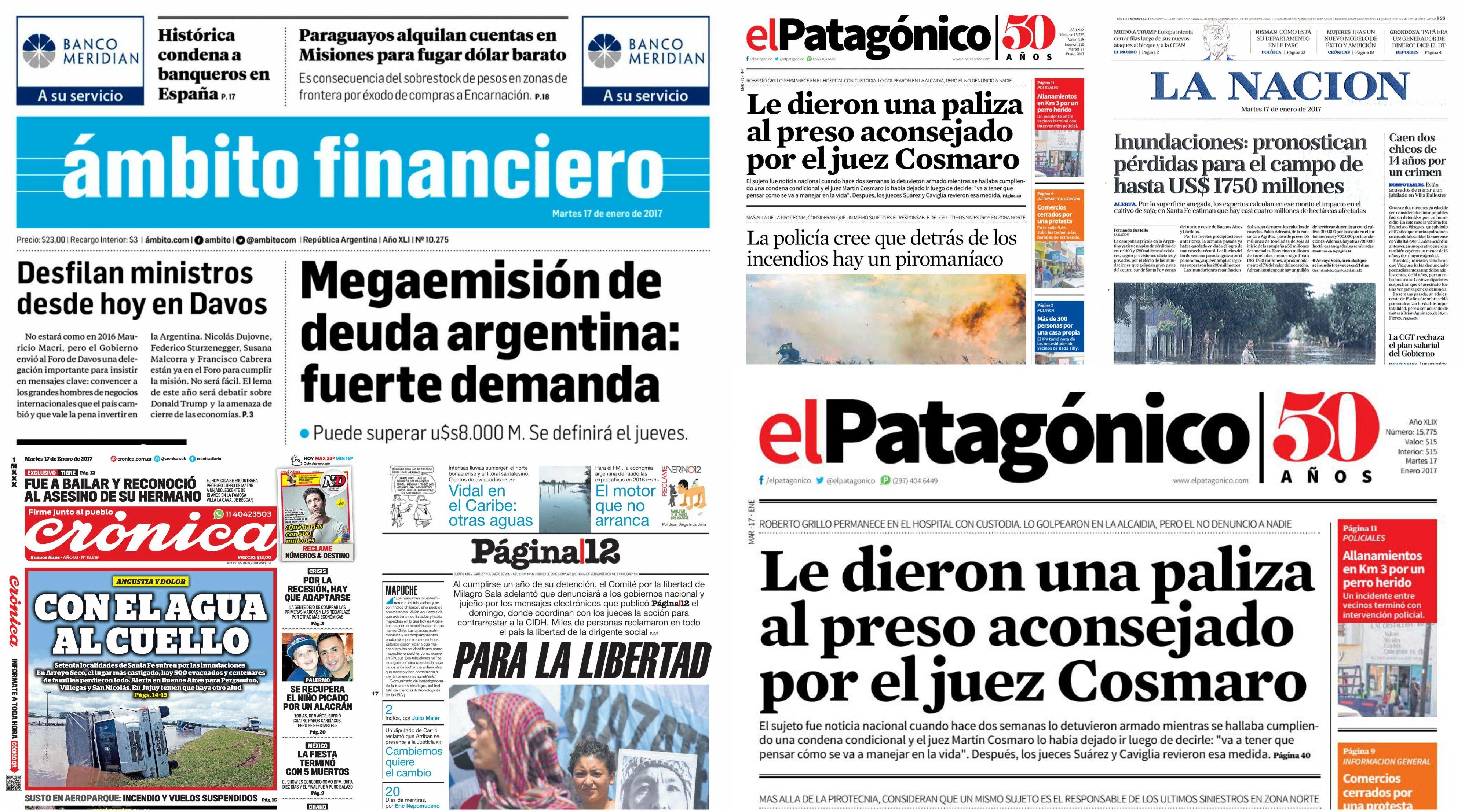 Tapas de diarios del martes 17 de enero de 2017
