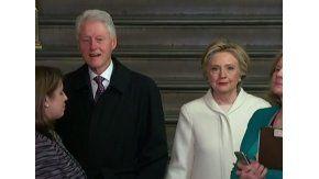 Hillary Clinton con mala cara en la asunción de Trump