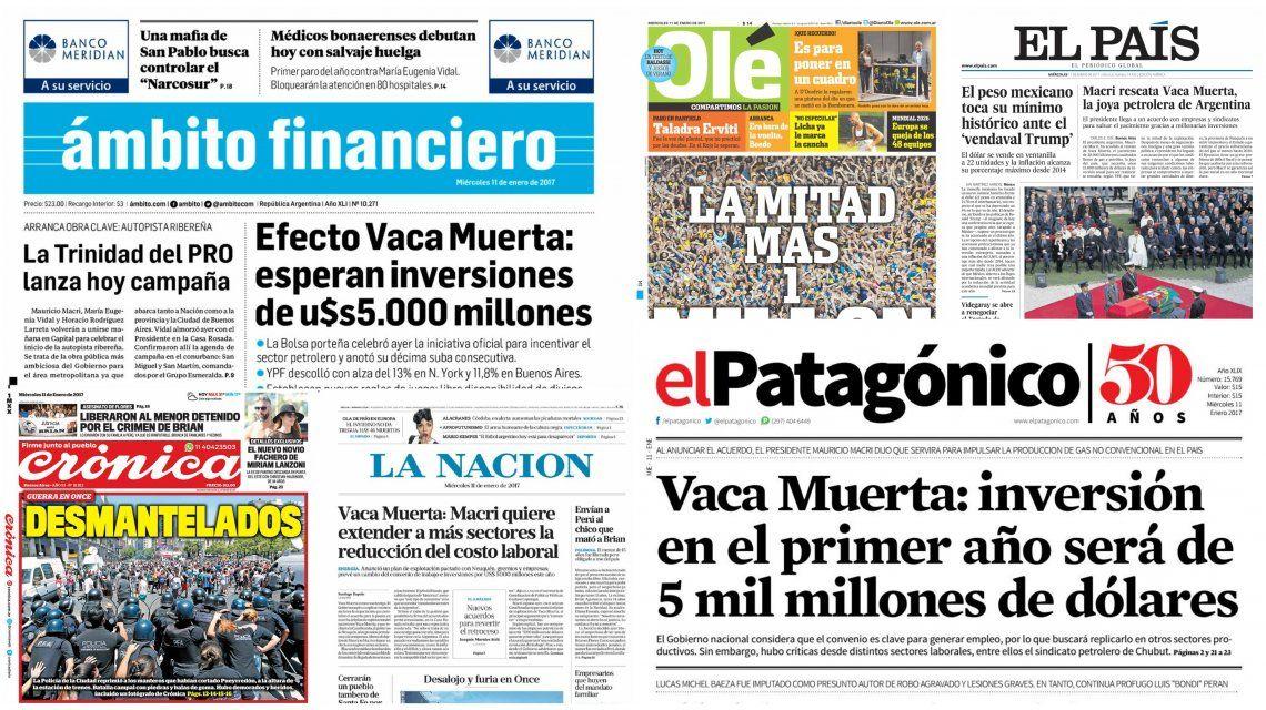 Tapas de diarios del 11 de enero de 2017
