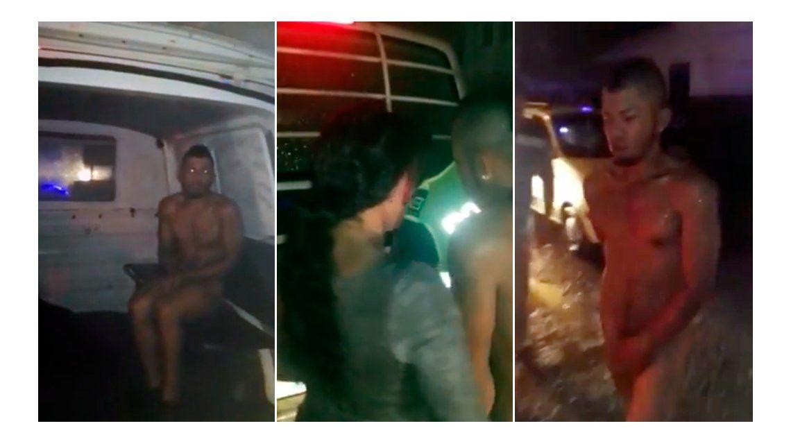 Vecinos obligarona a caminar desnudo a un ladrón en Colombia