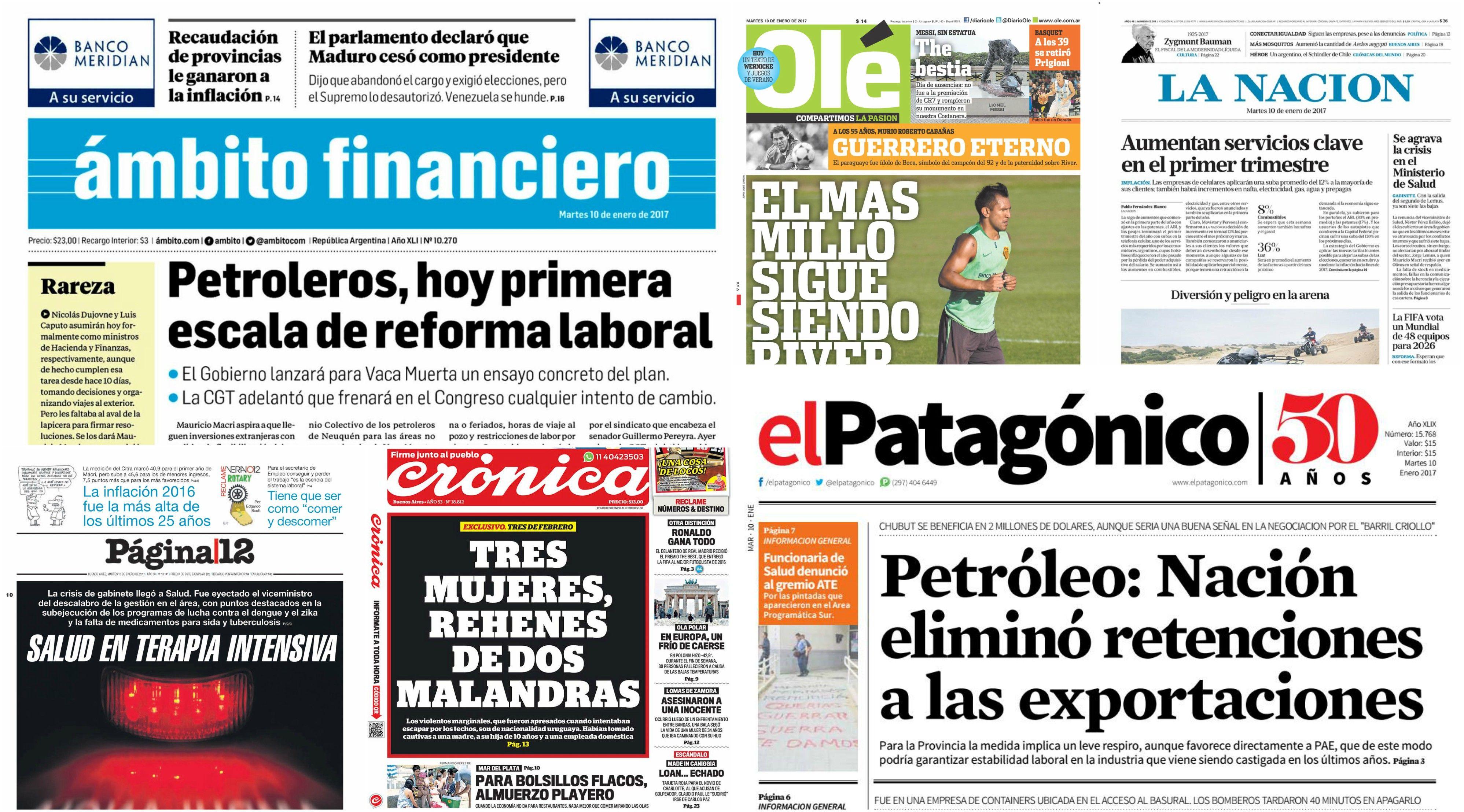 Tapas de diarios del 10 de enero de 2017