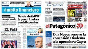 Tapas de diarios del 12 de enero de 2017
