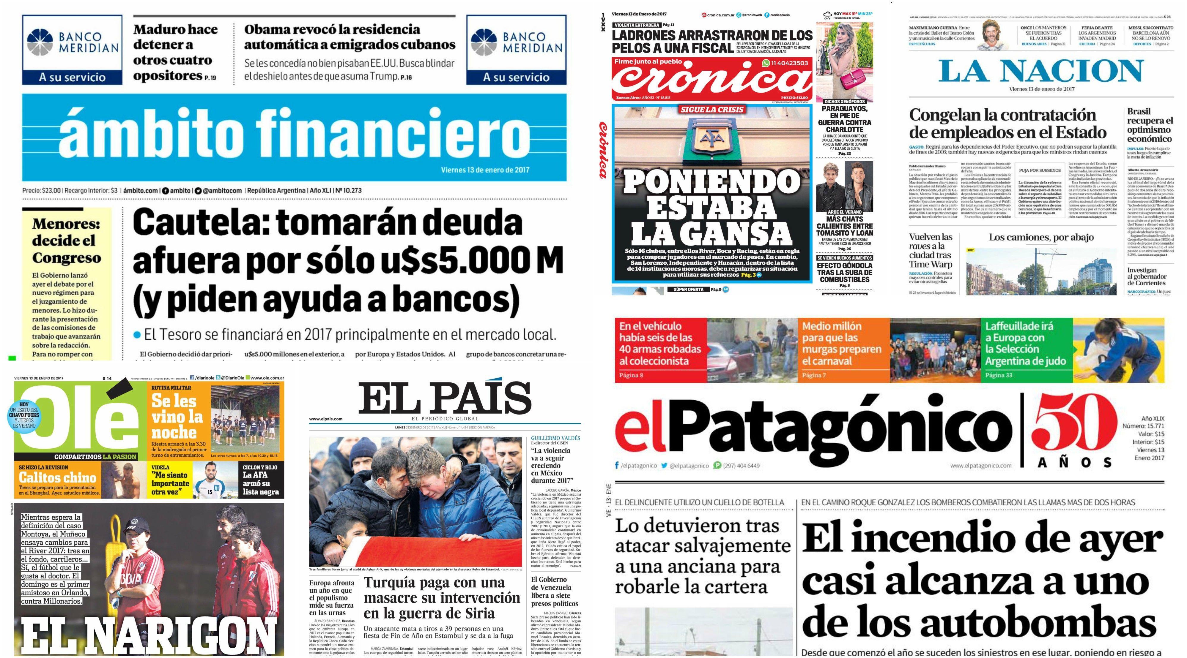 Tapas de diarios del viernes 13 de enero de 2017