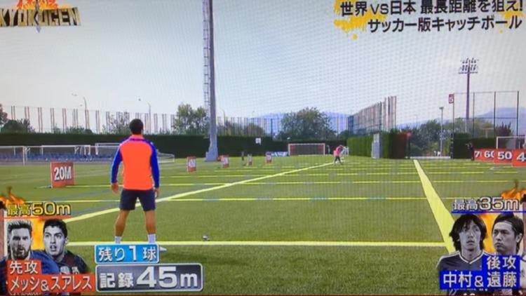 Lionel Messi y Luis Suárez en otro desafío de la TV japonesa