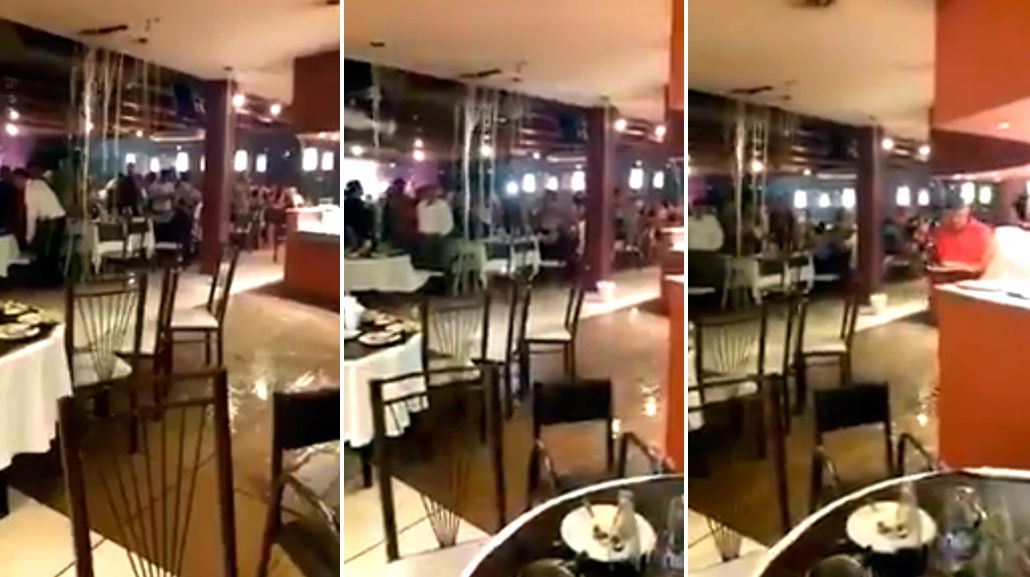 VIDEO: se inundó un restaurante de Quilmes en pleno temporal