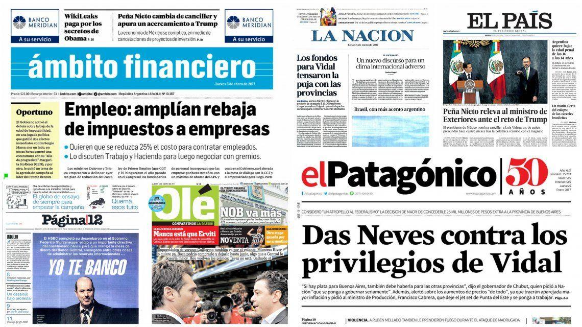 Tapas de diarios del 5 de enero de 2017