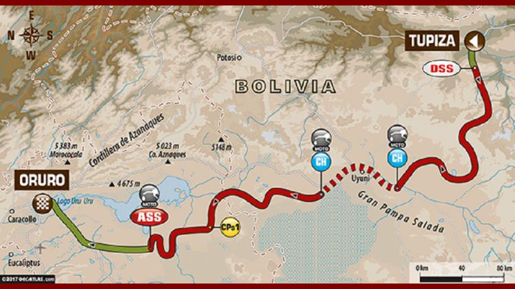 Mapa de la etapa 5 del Dakar