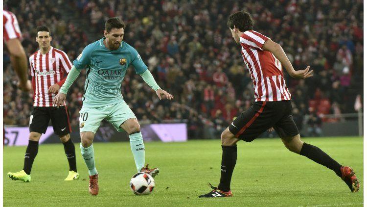Messi en el partido entre Barcelona y el Bilbao por la Copa del Rey