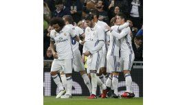 Real Madrid celebra el gol de James Rodríguez