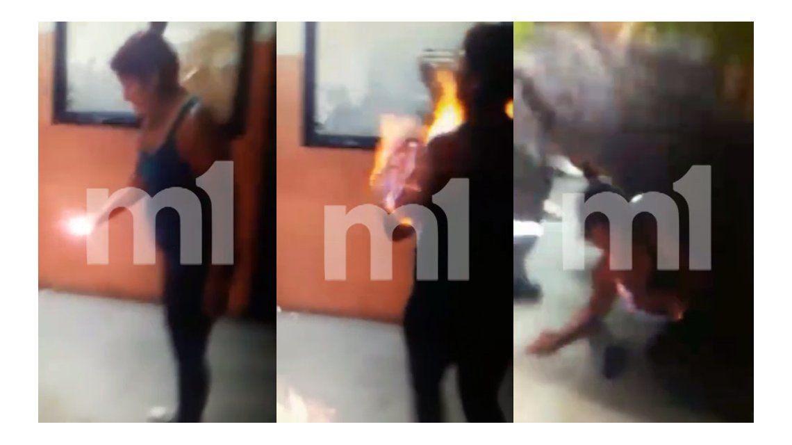 VIDEO: el momento en que se prendió fuego la mujer en la municipalidad de Quilmes