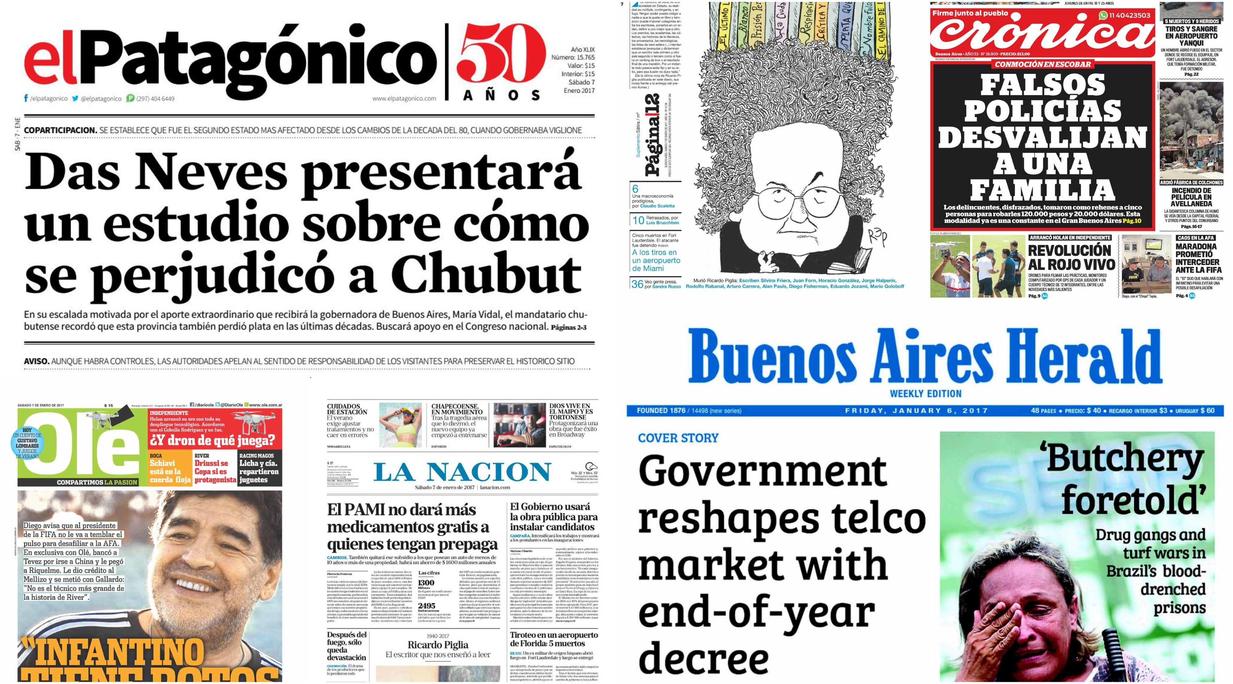 Tapas de diarios del sábado 7 de enero de 2017
