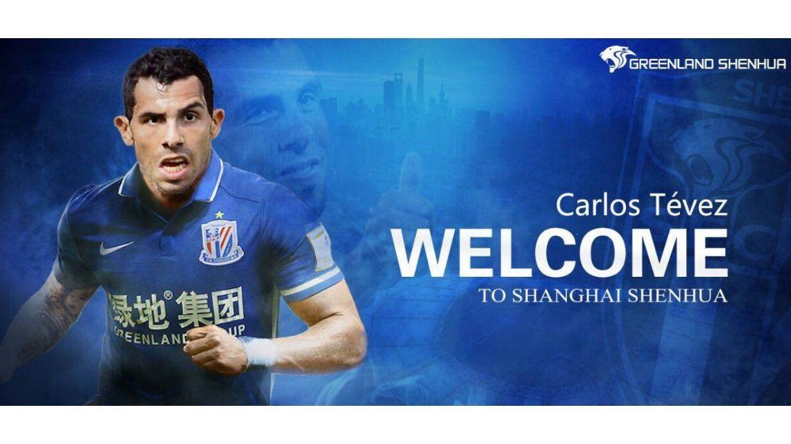 La imagen que utilizó el club chino para anunciar la contratación