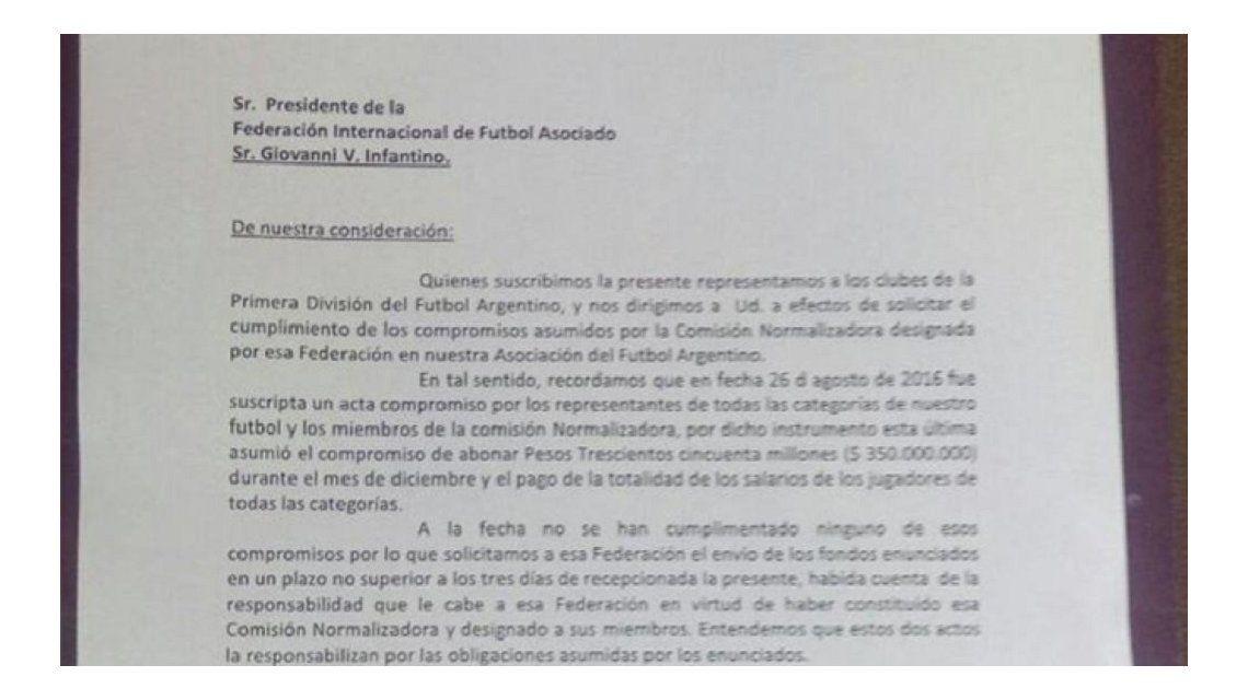 La carta que los clubes de Primera le enviaron a FIFA