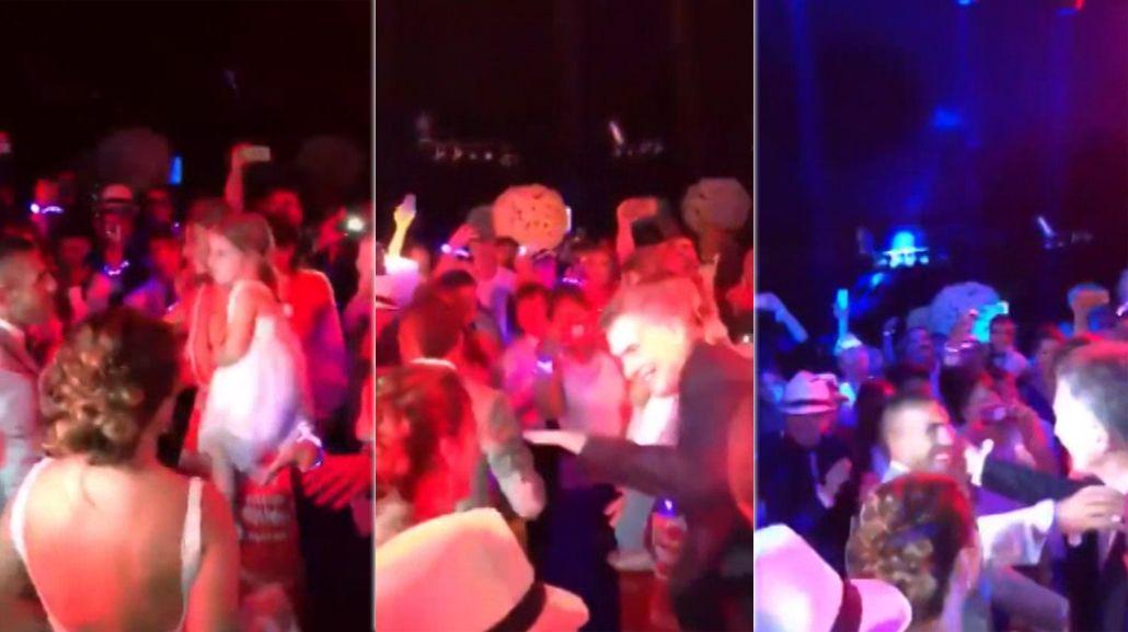 Macri bailó en el casamiento de Tevez