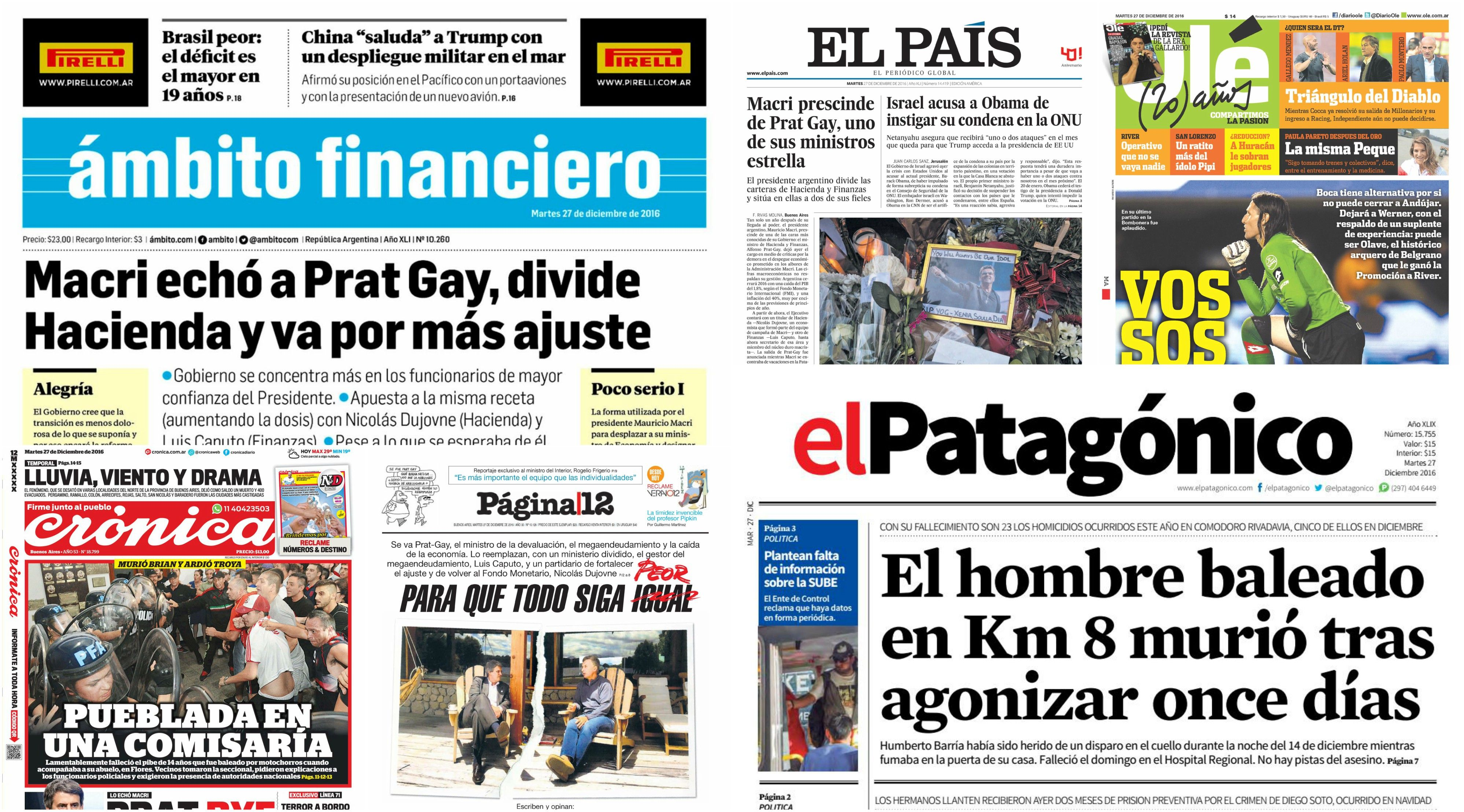 Tapas de diarios del 27 de diciembre de 2016