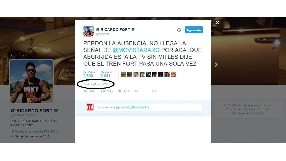 El tuit de Ricardo Fort