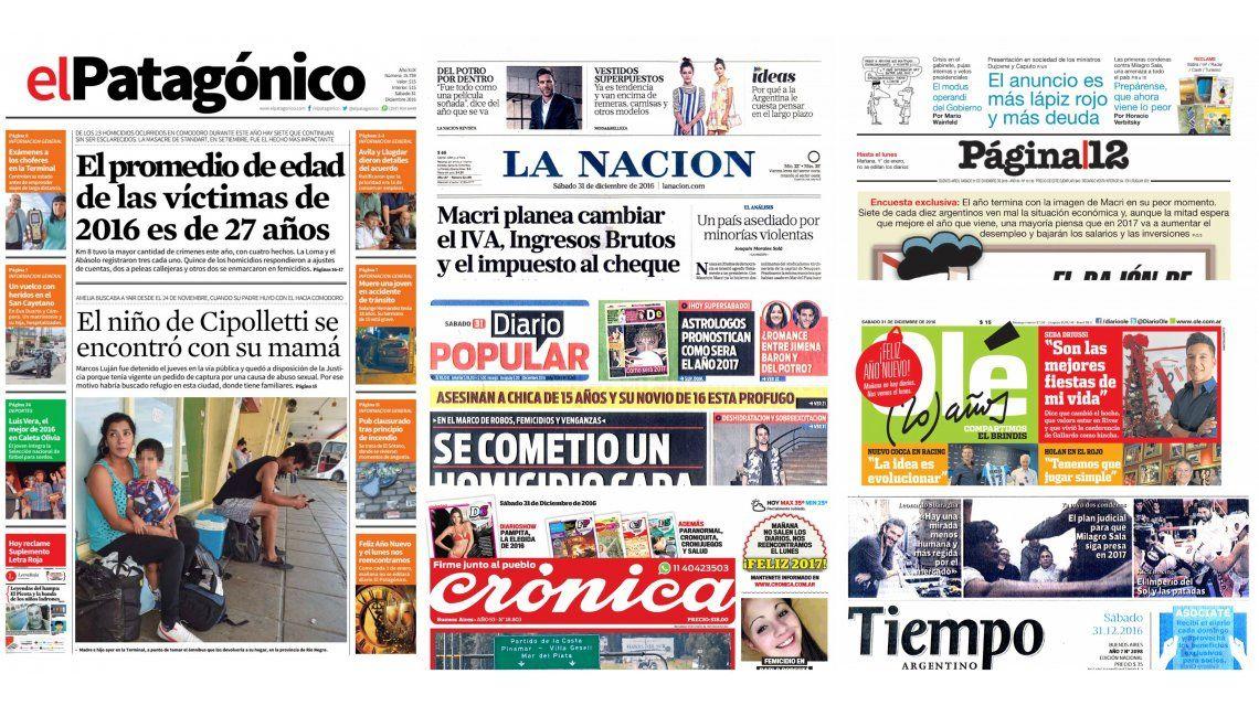 Tapas de diarios del sábado 31 de diciembre de 2016