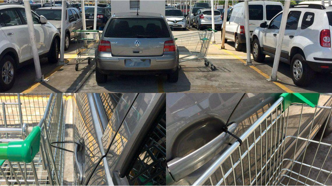 Estacionó mal el auto en un supermercado y recibió una lección