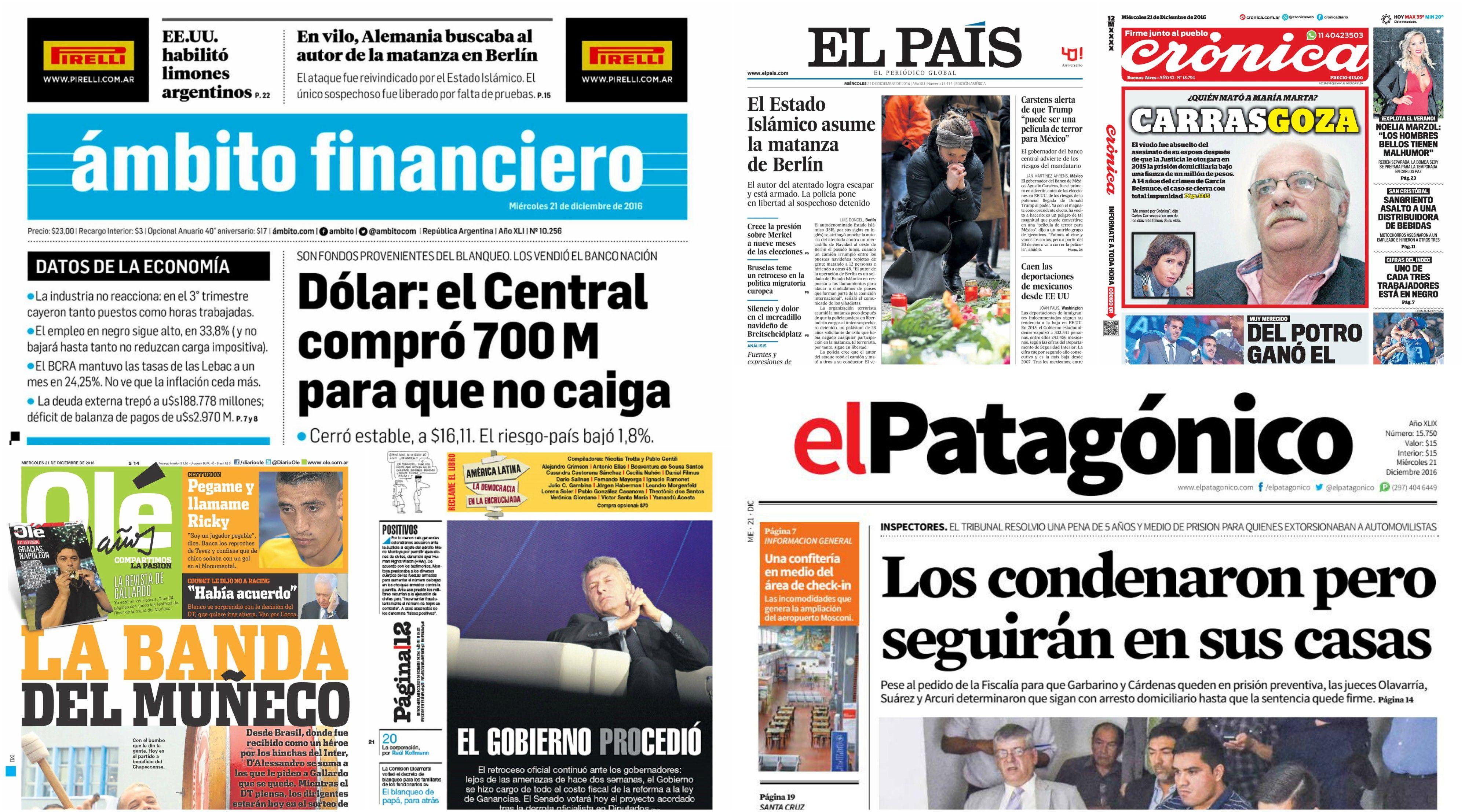 Tapas de diarios del 21 de diciembre de 2016