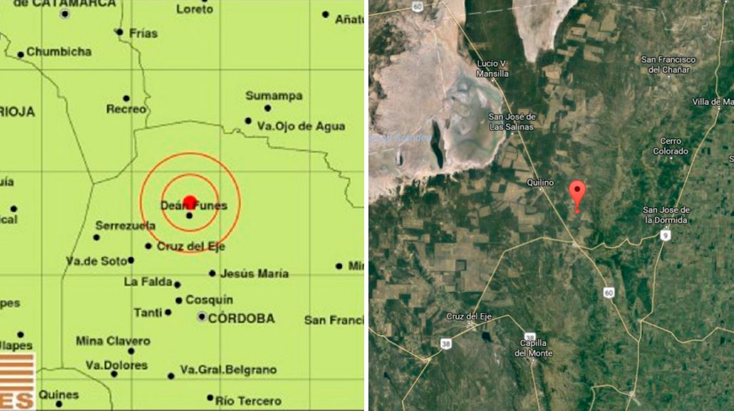 El epicentro del sismo en Córdoba