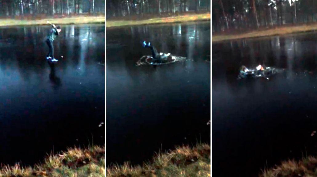 Quiso practicar su swing sobre un lago congelado y terminó mal