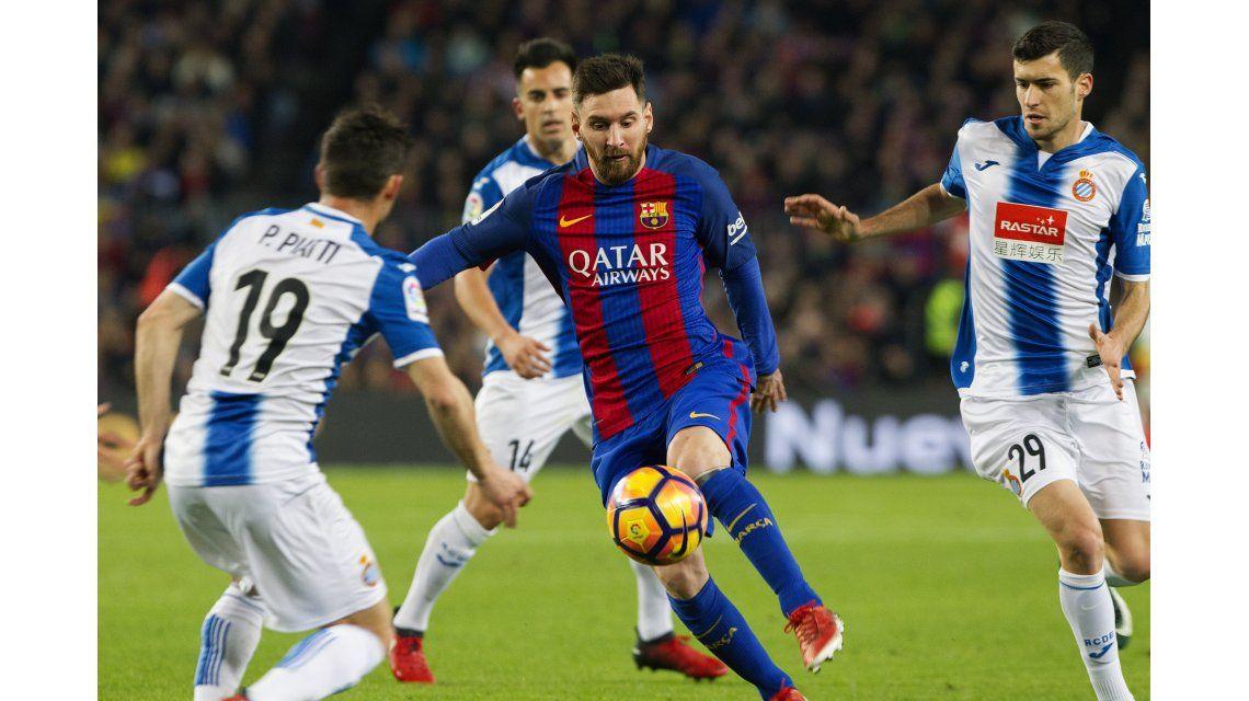 El argentino se cansó de desparramar rivales en el clásico ante Espanyol de la última fecha española