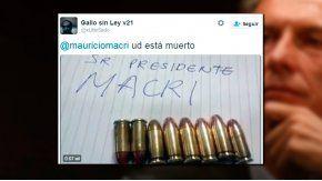 Captura de las amenazas que un usuario de Twitter realizara al presidente Mauricio Macri