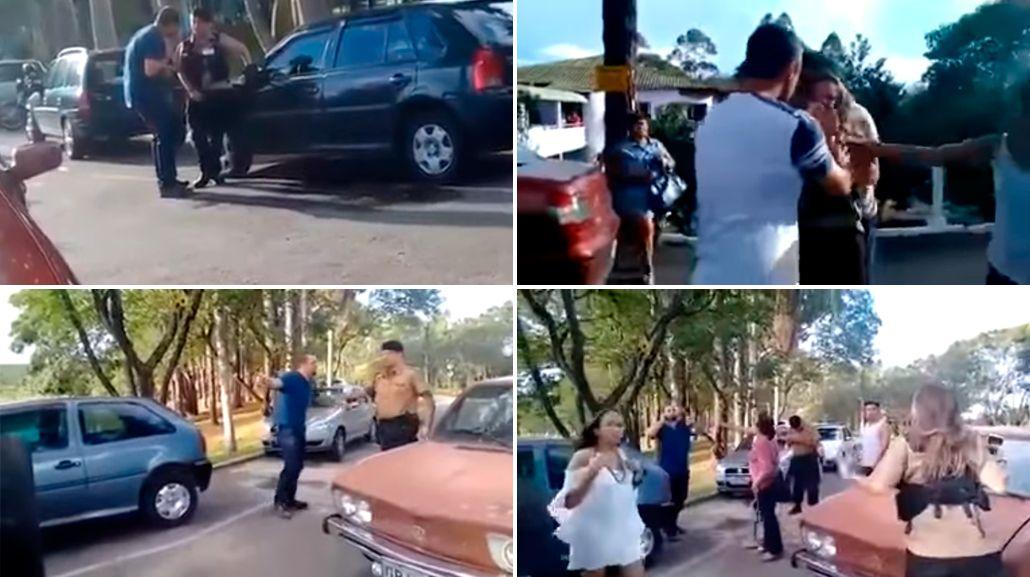 Un hombre golpeó brutalmente a una policía en Brasil