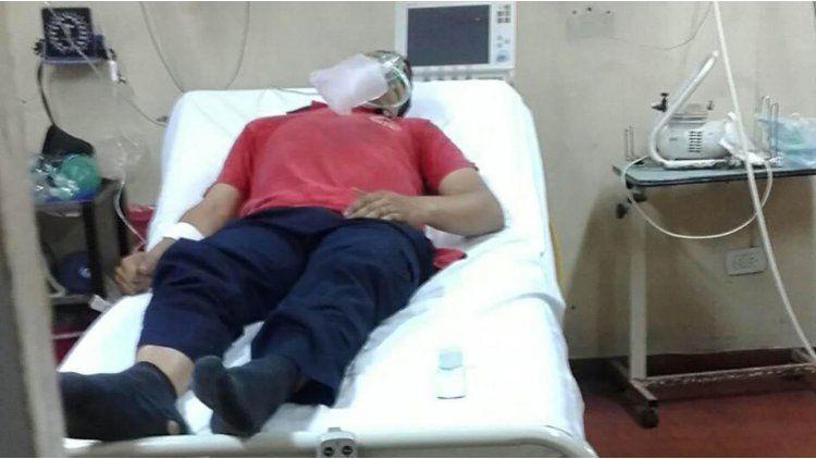 Uno de los bomberos que está internado en el hospital Mercante de José C. Paz