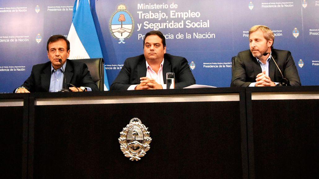 Mario Quintana, Jorge Triaca y Rogelio Frigerio<br>