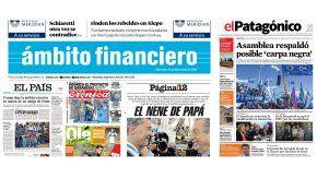 Tapas de diarios del 14 de diciembre de 2016