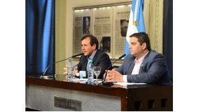 Jorge Triaca, junto a Mario Quintana en Casa de Gobierno