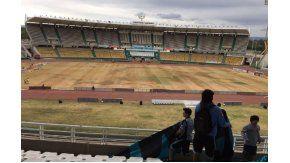 Desde las tribunas, el pésimo estado del campo (foto: @piratastuiteros)