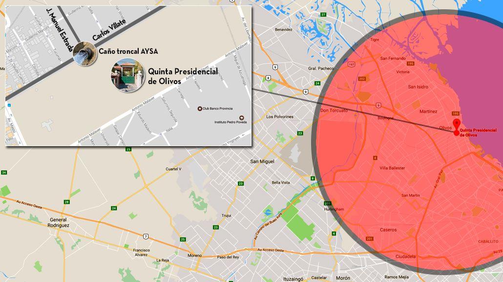 mapa de las zonas afectadas por la rotura del caño en la Quinta de Olivos