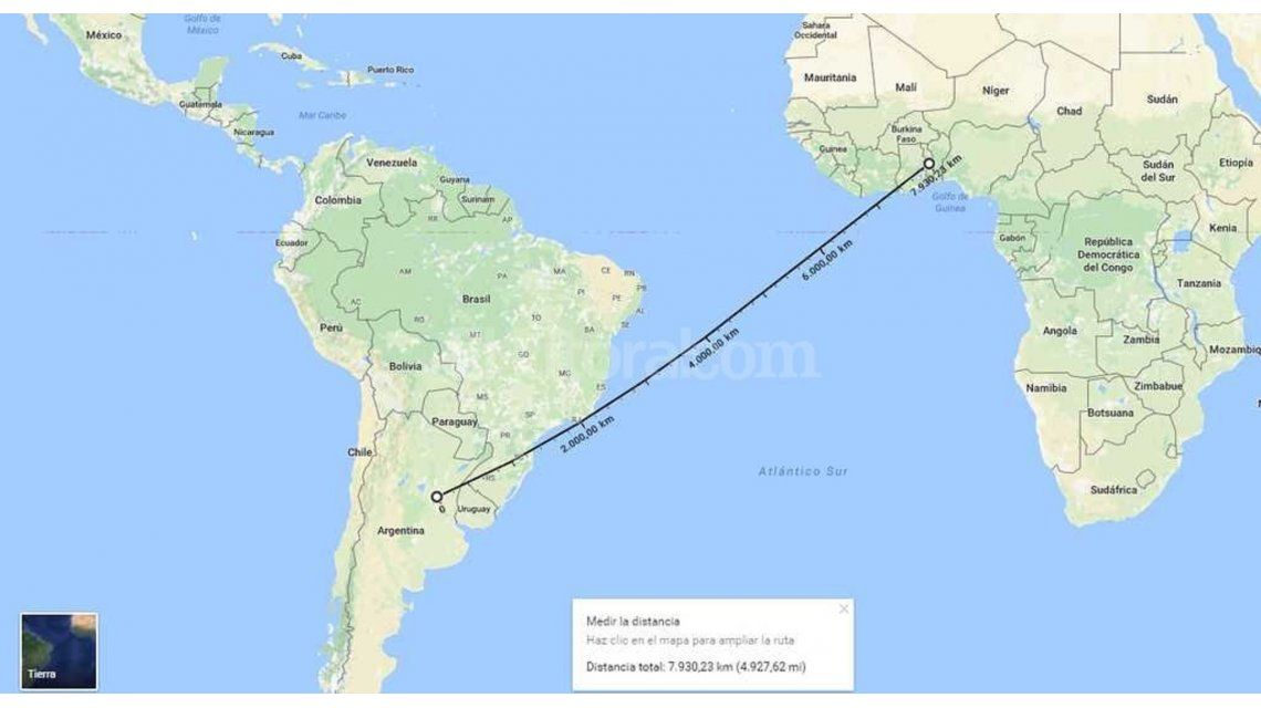 Mapa Argentina hasta Africa