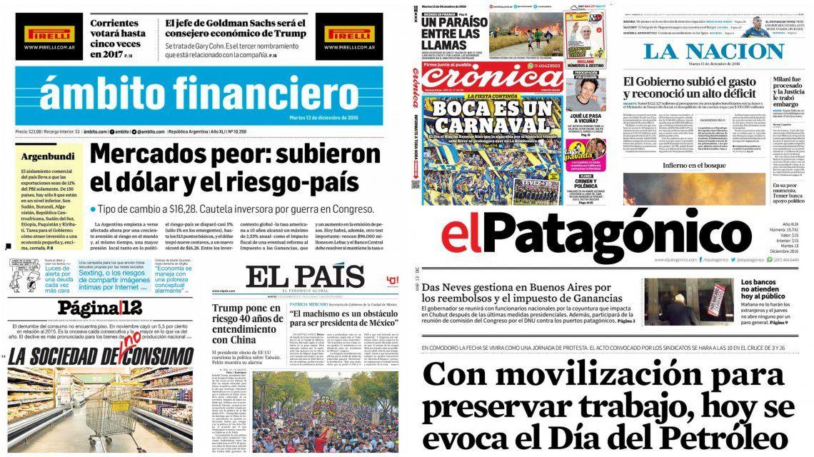 Tapas de diarios del 13 de diciembre de 2016